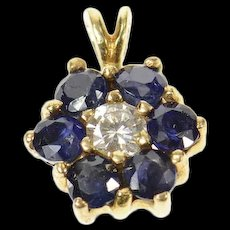 14K Diamond Sapphire Flower Halo Cluster Classic Pendant Yellow Gold [CQXQ]