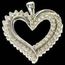 10K Classic Diamond Curvy Heart Love Symbol Pendant White Gold [CQXQ]