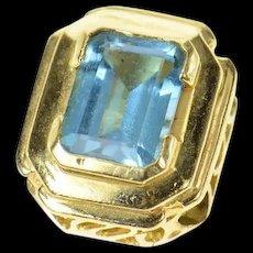 14K Emerald Blue Topaz Squared Slide Bracelet Charm/Pendant Yellow Gold [CQXQ]