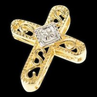 14K Diamond Scroll Filigree Ornate Cross Christian Pendant Yellow Gold [CQXQ]