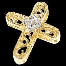 14K Diamond Scroll Filigree Ornate Cross Christian Pendant Yellow Gold [CQXQ]