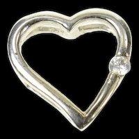 10K Diamond Inset Curvy Heart Love Symbol Pendant White Gold [CQXQ]