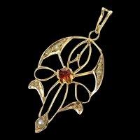 10K Victorian Syn. Garnet Seed Pearl Ornate Drop Pendant Yellow Gold [CQXQ]