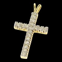 10K Christian Faith Cross Diamond Symbol Pendant Yellow Gold [CQXQ]