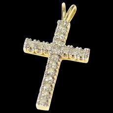 10K Christian Faith Cross Diamond Symbol Pendant Yellow Gold [CQXQ]