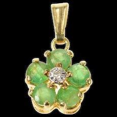 14K Emerald Diamond Accent Flower Cluster Classic Pendant Yellow Gold [CQXQ]