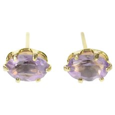 Sterling Silver Marquise Amethyst Solitaire Simple Stud Earrings  [CQXQ]