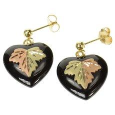 14K Heart Black Onyx Black Hills Leaf Dangle Earrings Yellow Gold [CQXS]