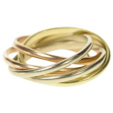 14K Tri Tone Layered Rolling Busy Band Ring Size 10 Yellow Gold [CQXQ]