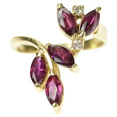 14K Marquise Ruby Diamond Bypass Statement Ring Size 5 Yellow Gold [CQXQ]