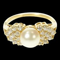 14K Pearl Ornate Cluster Classic Statement Ring Size 7 Yellow Gold [CQXS]