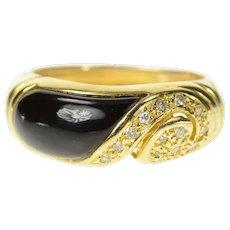 14K Black Onyx Inlay Diamond Swirl Statement Band Ring Size 6.5 Yellow Gold [CQXS]