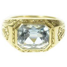 14K 1940's Ornate Blue Topaz Etched Squared Ring Size 5 Yellow Gold [CQXS]