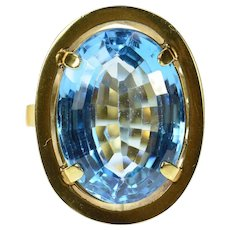 14K 1940's 16.75 Ct Blue Topaz Cocktail Ring Size 7.25 Yellow Gold [CQXQ]
