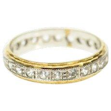 9K Retro Two Tone Rhinestone Ornate Wedding Band Ring Size 6.5 Yellow Gold [CQXS]