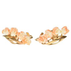 18K Victorian Carved Rose Flower Screw Back Earrings Yellow Gold [CQXS]