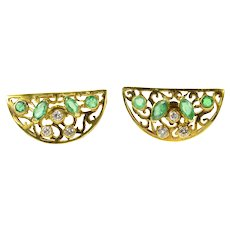 18K Ornate Half Moon Emerald Diamond Scroll Earrings Yellow Gold [CQXS]