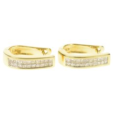14K 1.20 Ctw Princess Diamond Oval Hoop Earrings Yellow Gold [CQXS]