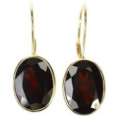 14K Victorian Ornate Garnet Oval Dangle Hook Earrings Yellow Gold [CQXS]