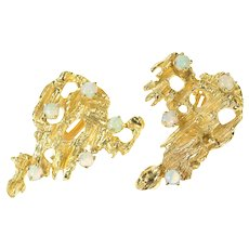 14K Retro Opal Brutalist Abstract Clip Back Earrings Yellow Gold [CQXS]