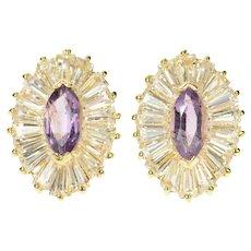14K Marquise Amethyst CZ Baguette Halo Stud Earrings Yellow Gold [CQXS]