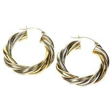 14K Sterling Silver Two Tone Twist Statement Hoop Earrings Yellow Gold [CQXS]