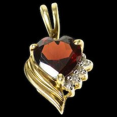 10K Heart Garnet Diamond Accent Classic Love Pendant Yellow Gold [CQXQ]