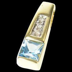 14K Princess Blue Topaz Diamond Squared Pendant Yellow Gold [CQXQ]