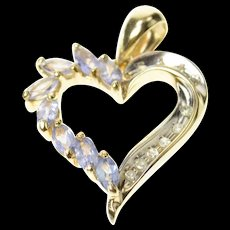 14K Marquise Tanzanite Diamond Curvy Heart Pendant Yellow Gold [CQXQ]