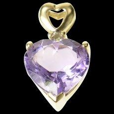 10K Heart Amethyst Diamond Accent Classic Pendant Yellow Gold [CQXQ]