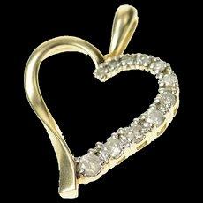 10K Classic Diamond Curvy Heart Love Symbol Pendant Yellow Gold [CQXQ]