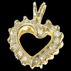14K Curvy Bypass Diamond Heart Love Symbol Pendant Yellow Gold [CQXQ]