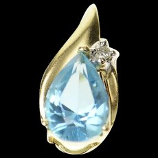 14K Pear Blue Topaz Diamond Accent Classic Pendant Yellow Gold [CQXQ]