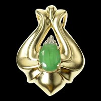 14K Emerald Diamond Cluster Curvy Statement Pendant Yellow Gold [CQXQ]