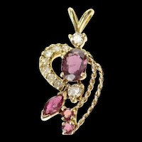 10K 1.40 Ctw Ornate Ruby Diamond Rope Cluster Pendant Yellow Gold [CQXQ]