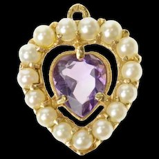 14K Victorian Pearl Amethyst Heart Classic Love Pendant Yellow Gold [CQXQ]