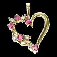 10K Ruby Diamond Heart Love Symbol Pendant Yellow Gold [CQXQ]