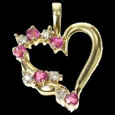 10K Ruby Diamond Heart Love Symbol Pendant Yellow Gold [CQXQ]