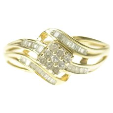 10K Square Diamond Cluster Bypass Statement Ring Size 9 Yellow Gold [CQXT]
