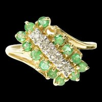 14K Emerald Halo Diamond Diagonal Cluster Ring Size 6.75 Yellow Gold [CQXT]