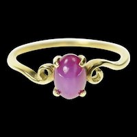 10K Oval Syn. Pink Star Ruby Cabochon Swirl Ring Size 6.5 Yellow Gold [CQXS]