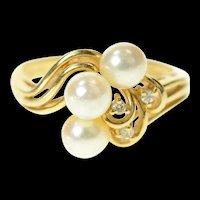 14K Ornate Pearl Diamond Swirl Cluster Statement Ring Size 6.25 Yellow Gold [CQXS]