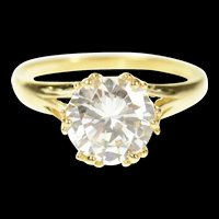14K Round Solitaire Classic Travel Engagement Ring Size 8 Yellow Gold [CQXT]