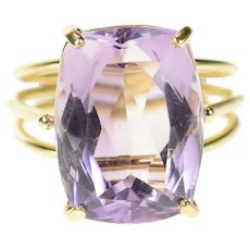 14K 10.63 Ct Amethyst Solitaire Cocktail Statement Ring Size 6.75 Yellow Gold [CQXQ]