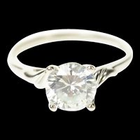 14K Classic Round Solitaire Travel Engagement Ring Size 8 White Gold [CQXT]
