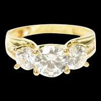 14K Three Stone Classic Travel Engagement Ring Size 7.75 Yellow Gold [CQXT]