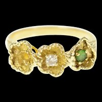 14K Retro Textured Flower Emerald Diamond Ring Size 6 Yellow Gold [CQXT]