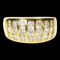14K Graduated Striped Channel CZ Statement Band Ring Size 9.25 Yellow Gold [CQXS]
