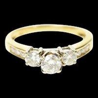 14K 0.94 Ctw Classic Round Diamond Engagement Ring Size 8 Yellow Gold [CQXT]