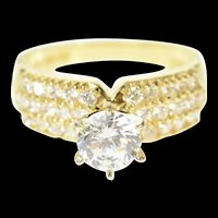 14K Pave Cubic Zirconia Travel Engagement Ring Size 7 Yellow Gold [CQXT]